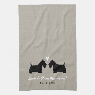 Scottish Terrier Silhouettes with Heart and Text Towels