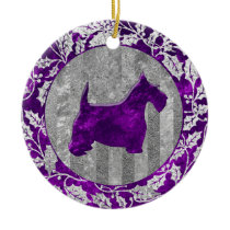 Scottish Terrier Silver Purple Glass Look Ceramic Ornament