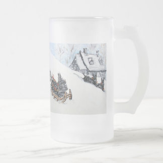 Scottish Terrier Sled Frosted Glass Beer Mug