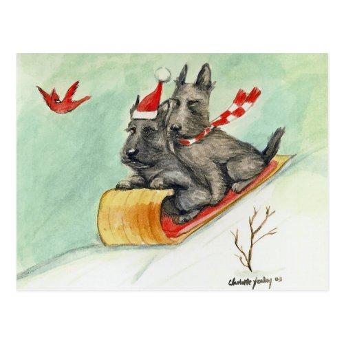 Scottish Terrier Sleigh Ride Art Postcard