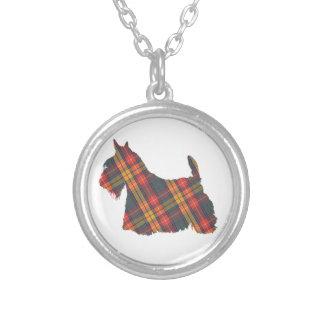 Scottish Terrier Tartan Silhouette Pendant