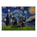 Scottish Terrier (two blk) - Starry Night Greeting Card