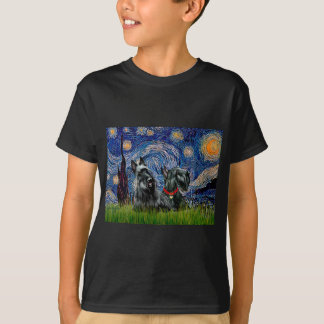 Scottish Terrier (two blk) - Starry Night T-Shirt