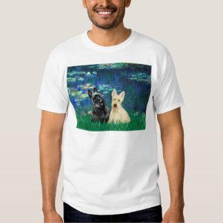 Scottish Terrier (two-BW) - Lilies 5 Tshirt