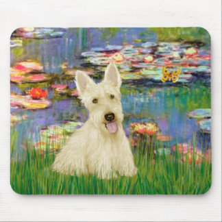 Scottish Terrier (W5) - Lilies 2 Mouse Pad