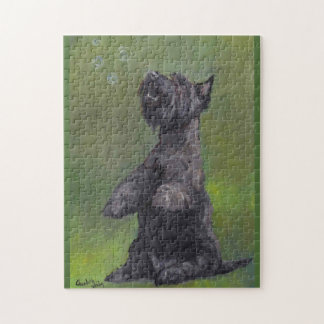 Scottish Terrier Want Bubbles Dog Art Puzzle