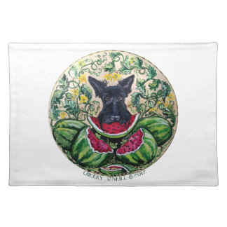 Scottish Terrier Watermelons Cloth Placemat