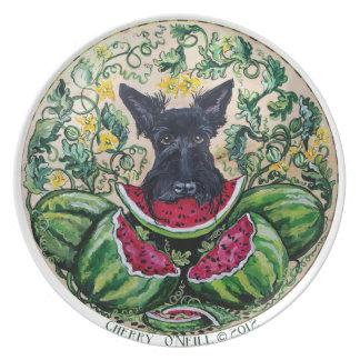 Scottish Terrier Watermelons Dinner Plate