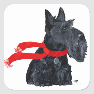 Scottish Terrier Winter Holiday Square Sticker