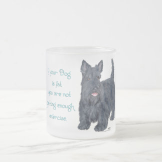 Scottish Terrier Wit - If your Dog is Fat . . . Frosted Glass Coffee Mug