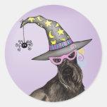 Scottish Terrier Witch Round Stickers