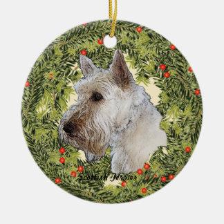 Scottish Terrier Wreath Ceramic Ornament