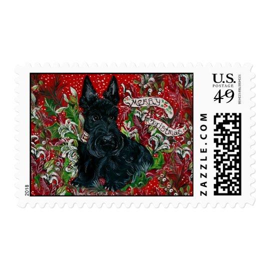 Scottish Terrier Xmas Stamp