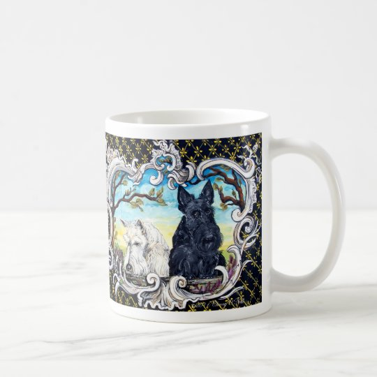 Scottish Terriers and Frog Coffee Mug