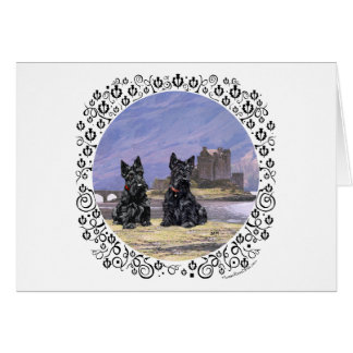 Scottish Terriers at Eileen Donan Castle Cards