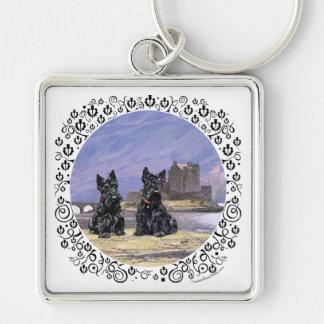 Scottish Terriers at Eileen Donan Castle Keychain