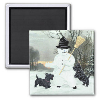Scottish Terriers Build a Snowman 2 Inch Square Magnet