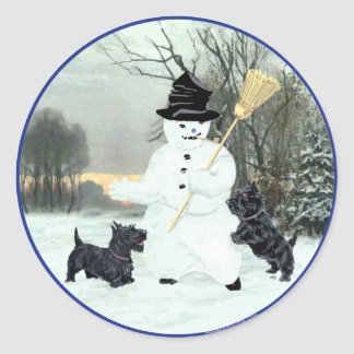 Scottish Terriers Build a Snowman Classic Round Sticker