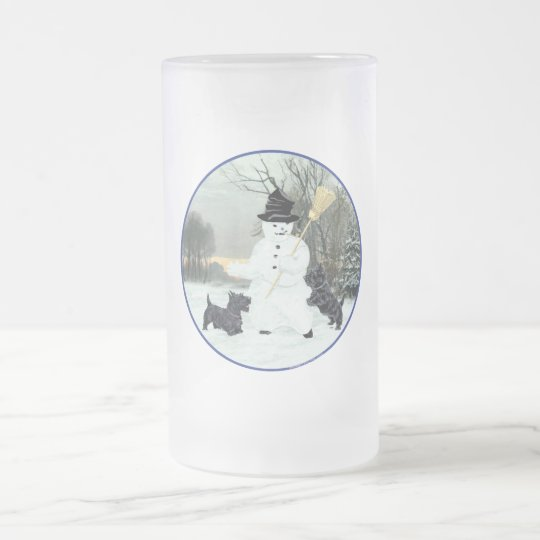 Scottish Terriers Build a Snowman Frosted Glass Beer Mug