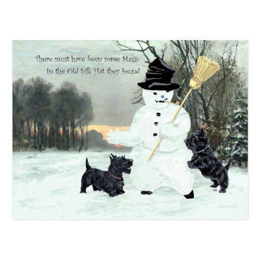 Scottish Terriers Build a Snowman Postcard