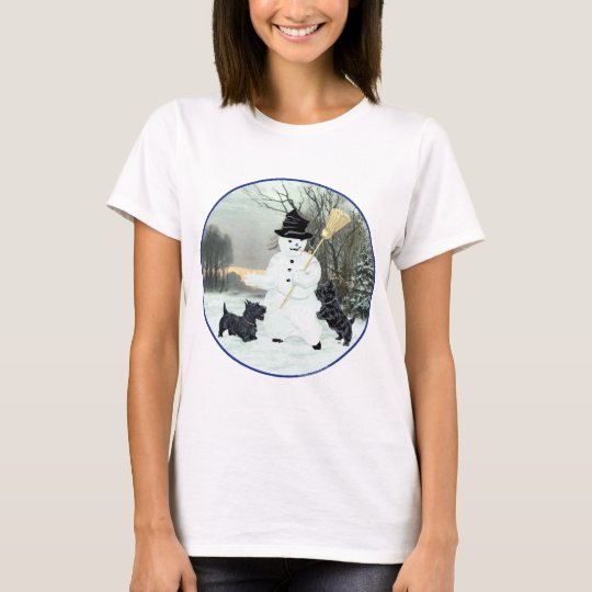 Scottish Terriers Build Snowman T-Shirt