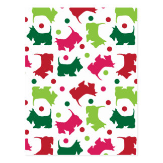 Scottish Terriers Christmas Pattern Postcards