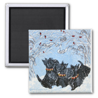 Scottish Terriers in the snow! 2 Inch Square Magnet