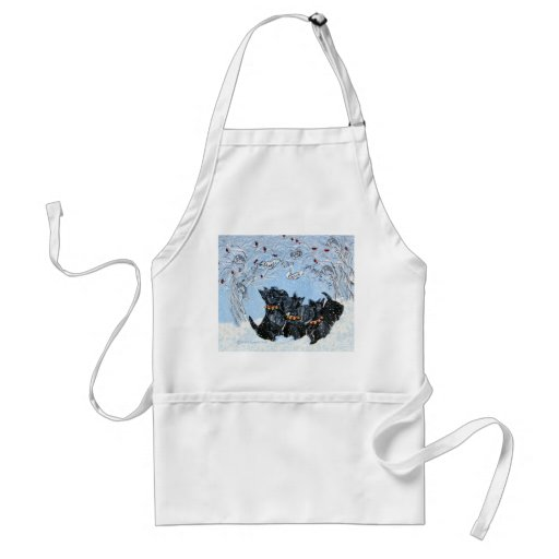 Scottish Terriers in the snow! Adult Apron