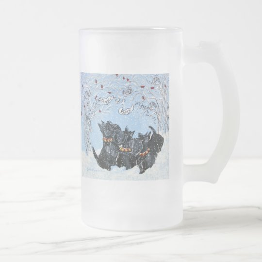 Scottish Terriers in the snow! Frosted Glass Beer Mug