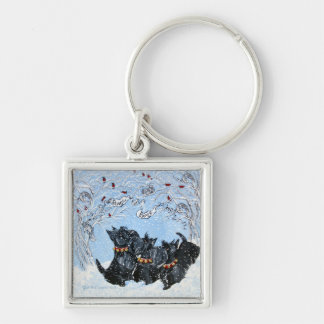 Scottish Terriers in the snow! Keychain