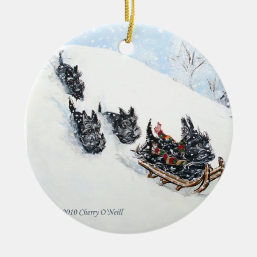 Scottish Terriers Sled Christmas Tree Ornaments