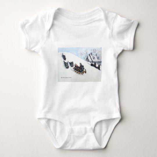Scottish Terriers Sledding Baby Bodysuit