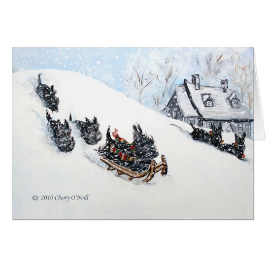 Scottish Terriers Sledding Card