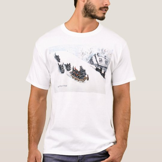 Scottish Terriers Sledding T-Shirt
