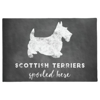 Scottish Terriers Spoiled Here Vintage Chalkboard Doormat