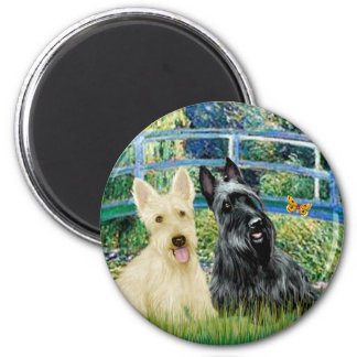 Scottish Terriers (two-BW) - Bridge 2 Inch Round Magnet