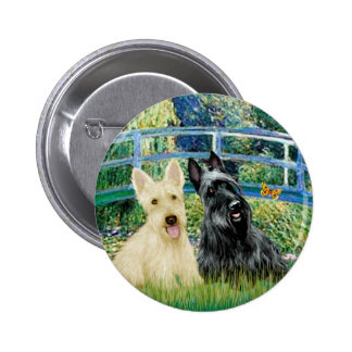 Scottish Terriers two-BW - Bridge Buttons