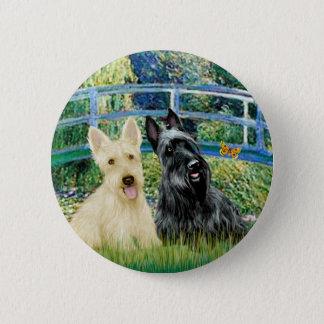 Scottish Terriers (two-BW) - Bridge Pinback Button