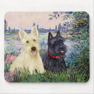 Scottish Terriers (two-BW) - By the Seine Mouse Pad