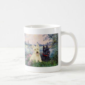 Scottish Terriers (two-BW) - By the Seine Mugs