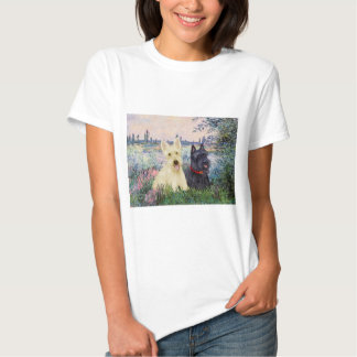 Scottish Terriers (two-BW) - By the Seine Tee Shirt