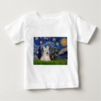 Scottish Terriers (two-BW) - Starry Night Baby T-Shirt