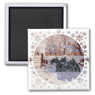 Scottish Terriers Winter Magpie 2 Inch Square Magnet