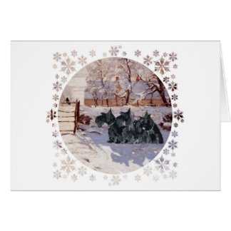 Scottish Terriers Winter Magpie Card