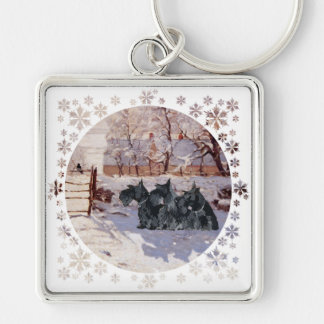 Scottish Terriers Winter Magpie Silver-Colored Square Keychain