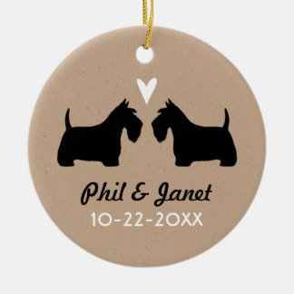 Scottish Terriers with Heart and Text Ceramic Ornament