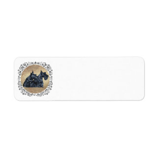 Scottish Terriers with Thistles Label