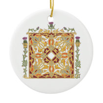 Scottish Thistle and Crown Red & Gold Celtic Knot Ceramic Ornament