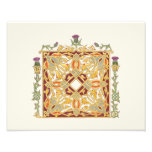 Scottish Thistle and Crown Red & Gold Celtic Knot Photo Print