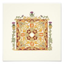 Scottish Thistle and Crown Red & Gold Celtic Knot